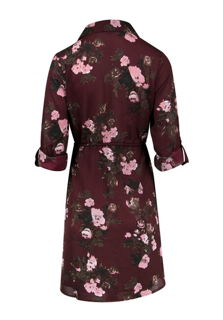 Ladies' Floral Roll Sleeve Shirt Dress, GRAPEBERRY, hi-res