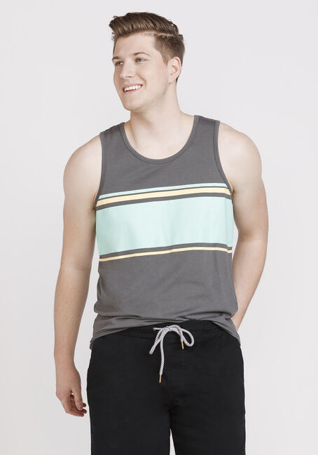 Men's Everyday Striped Tank, GREY, hi-res