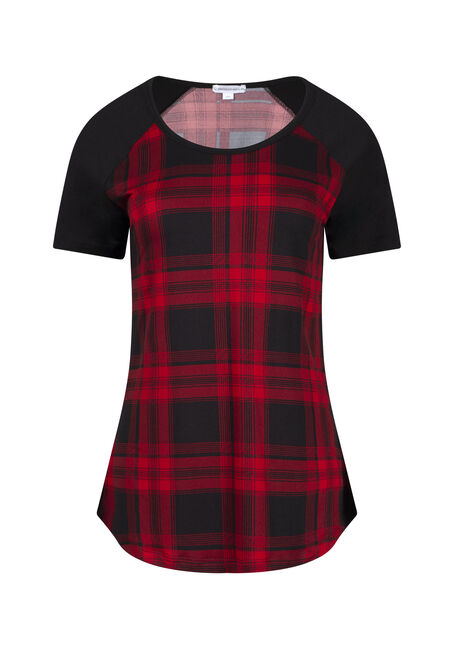 Women's Plaid Baseball Tee