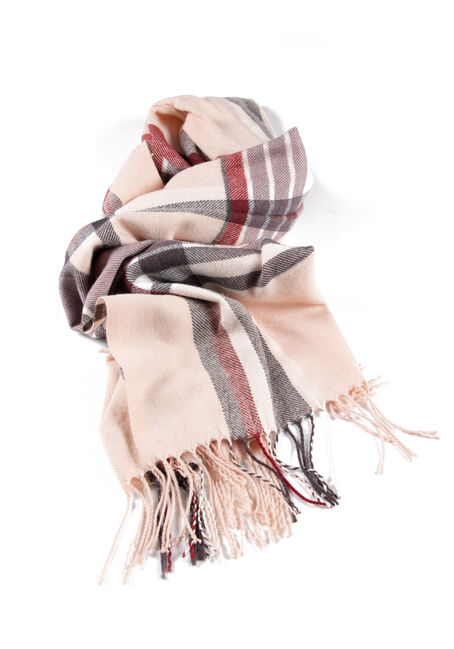Women's Plaid Blanket Scarf, PALE PINK, hi-res