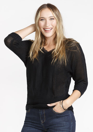 Women's Shimmer Sweater, BLACK, hi-res