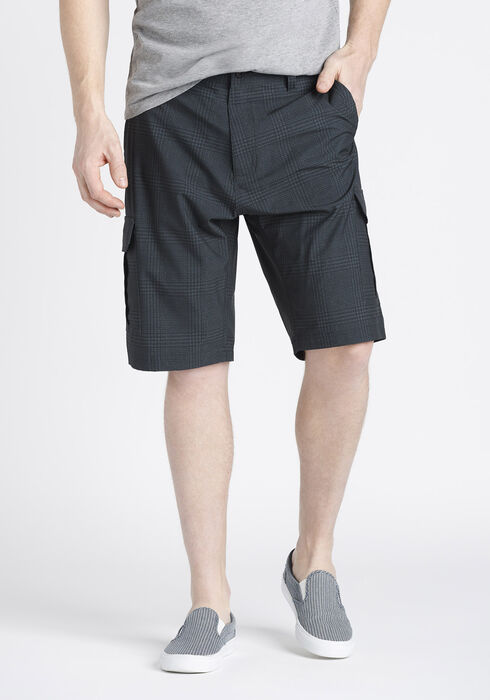 Men's Plaid Hybrid Cargo Short, GREY, hi-res