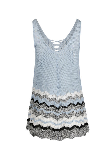 Ladies' Lace Up Sweater Tank, POWDER BLUE/WHT, hi-res