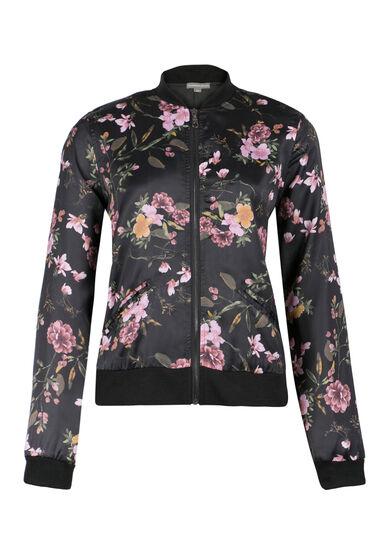 Ladies' Floral Bomber Jacket, BLACK, hi-res