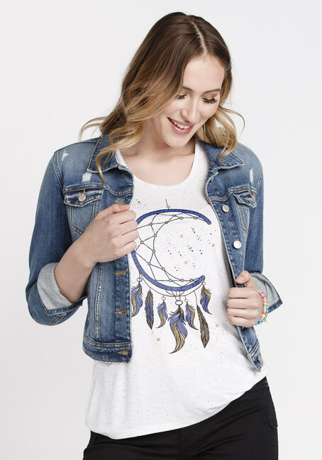 Women's Moon Dreamcatcher Speckle Tank, WHITE, hi-res