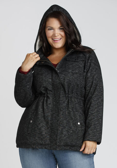 Ladies' Hooded Knit Jacket, BLK/WHT, hi-res