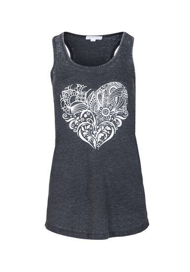 Women's Patchwork Heart Tank, BLACK, hi-res