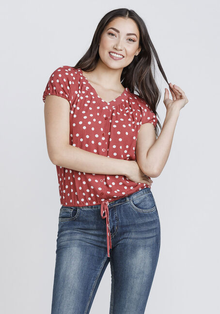 Women's Polka Dot Tie Front Top, SEDONA, hi-res