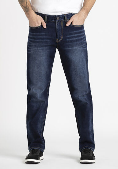 Men's Dark Wash Relaxed Straight Jeans, DARK WASH, hi-res