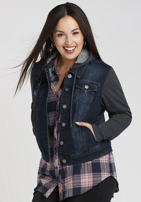 Ladies' Knit Sleeve Jean Jacket, DARK WASH, hi-res