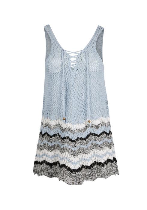 Ladies' Lace Up Sweater Tank, POWDER BLUE/WHT, hi-res