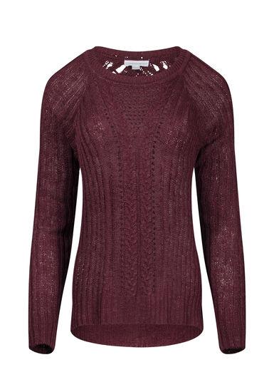 Women's Pointelle Sweater, BURGUNDY, hi-res