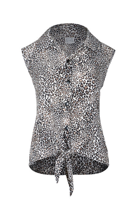 Women's Tie Front Leopard Print Shirt