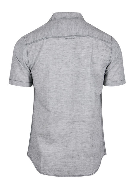Men's Textured Linen Shirt, CHARCOAL, hi-res