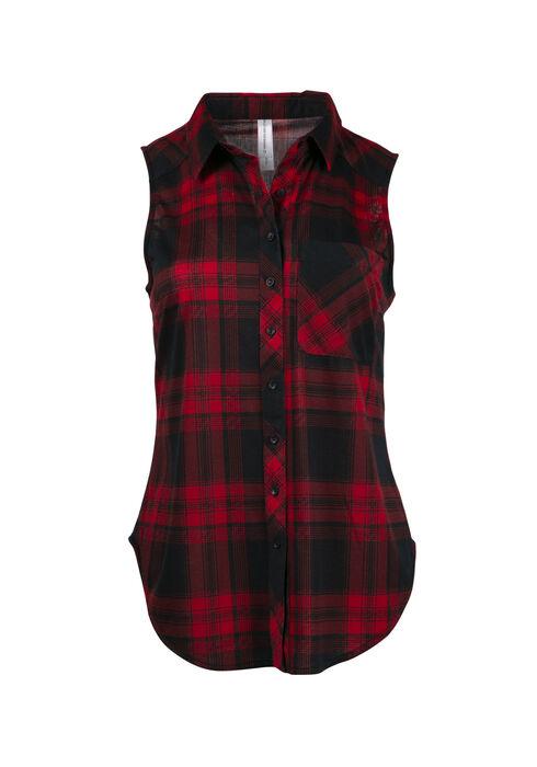 Women's Knit Buffalo Plaid Shirt, RED, hi-res