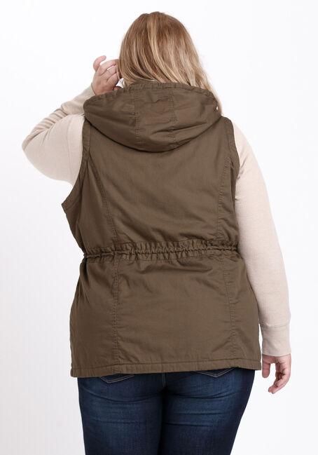 Women's Hooded Anorak Vest, OLIVE, hi-res