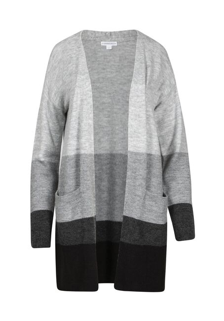 Women's Colour Block Cardigan, GREY MIX, hi-res