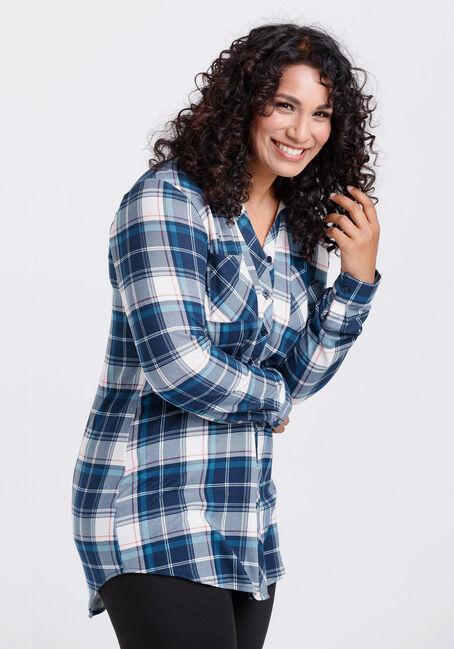 Women's Knit Plaid Tunic Shirt