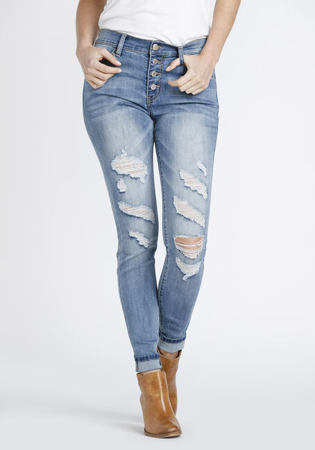 Women's Exposed Button Fly Shredded Skinny Jeans