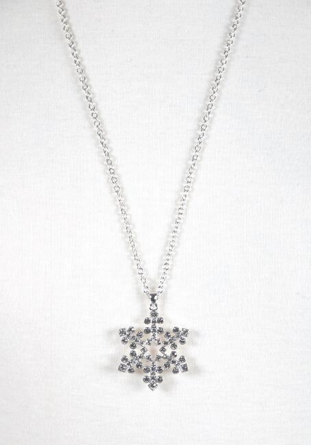 Ladies' Snowflake Necklace, SHINY SILVER, hi-res
