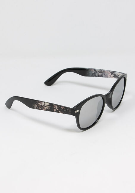 Women's Round Floral Frame Sunglasses, PINK PRINT, hi-res