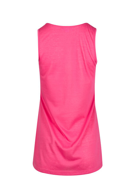 Ladies' Cage Neck Tunic Tank, RASPBERRY, hi-res