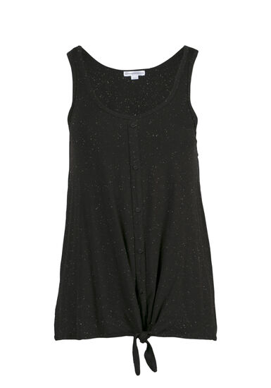 Women's Speckled Tie Front Tank, BLACK, hi-res