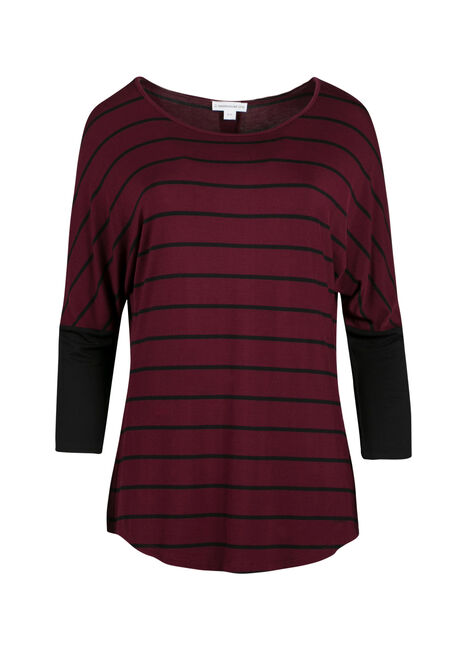 Ladies' Stripe Button Back Top