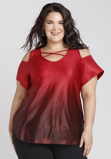 Ladies' Ombre Glitter Cold Shoulder Top, BRIGHT RED, hi-res