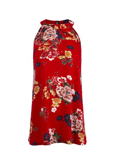 Women's Floral Mock Neck Tank, RED, hi-res