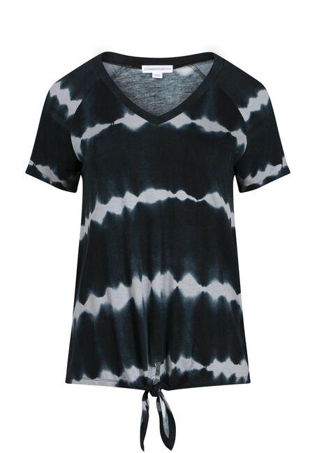 Women's Printed Tie Front Tee, BLACK COMBO, hi-res