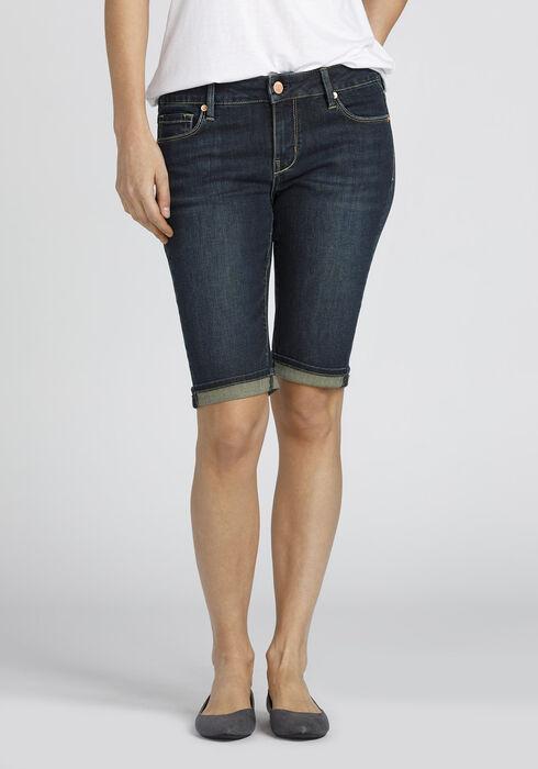 Ladies' Slim Bermuda Short, DARK WASH, hi-res