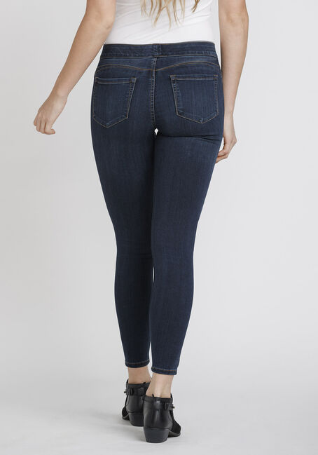 Women's Pull On Push Up Jeans, DARK WASH, hi-res