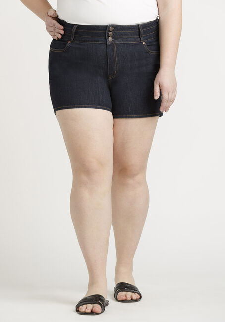 Women's Plus 3 Button Stacked Short
