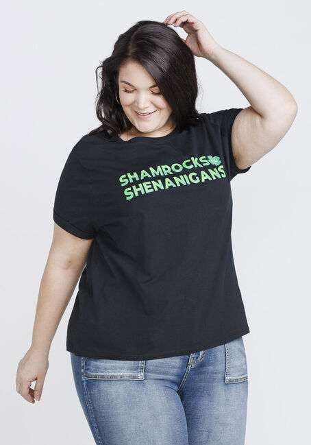 Women's Shamrock Boyfriend Tee, BLACK, hi-res