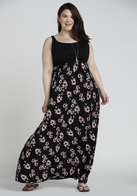 Ladies' Floral Maxi Dress, BLACK/PINK PRINT, hi-res