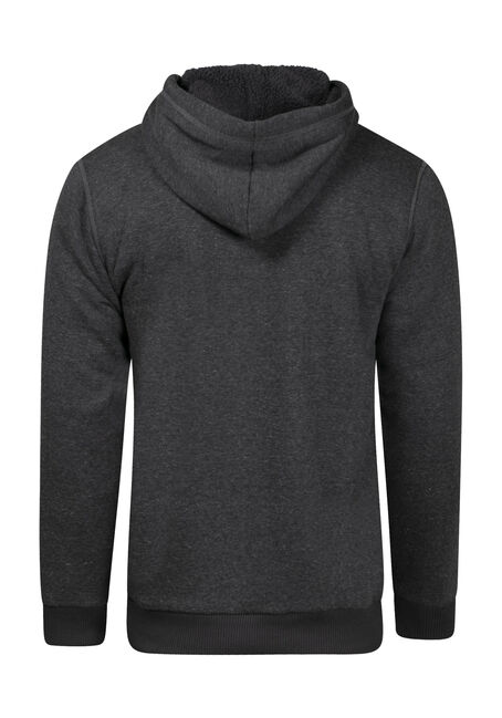 Men's Fur Lined Zip Front Hoodie, CHARCOAL, hi-res