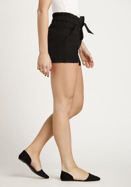 Women's Paper Bag Waist Soft Short, BLACK, hi-res