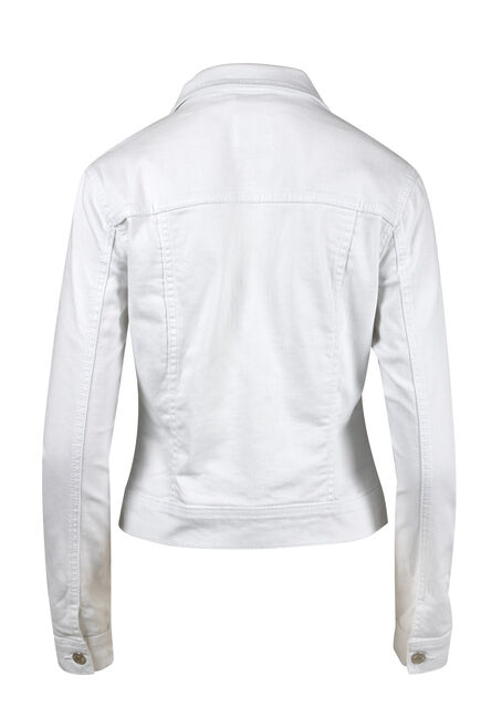 Women's White Jean Jacket, WHITE, hi-res