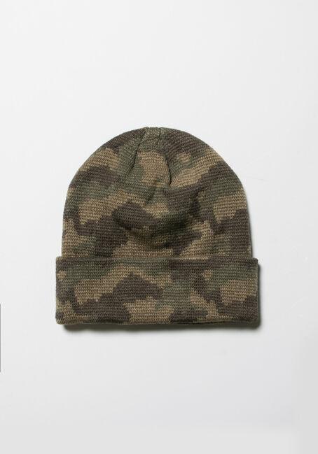 Men's Camo Ribbed Hat, CAMO, hi-res