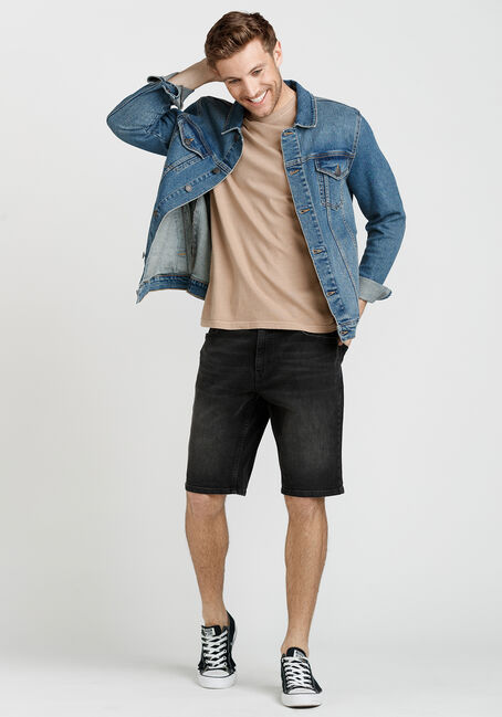 Men's Medium Blue Wash Denim Jacket, MEDIUM WASH, hi-res