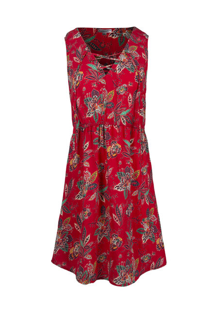 Women's Paisley Lace Up Dress