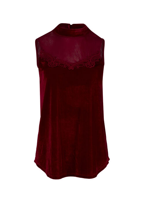 Women's Velvet Mock Neck Tank, RED, hi-res