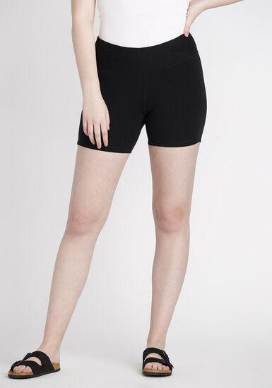 Women's Mid Rise Biker Short, BLACK, hi-res