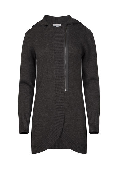 Women's Asymmetrical Zip Cardigan, CHARCOAL, hi-res