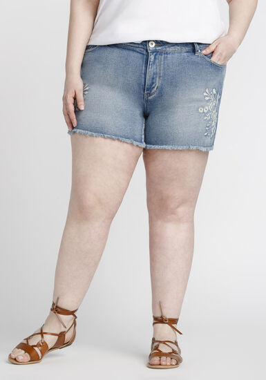 Women's Plus Size Embroidered Jean Short, MEDIUM WASH, hi-res