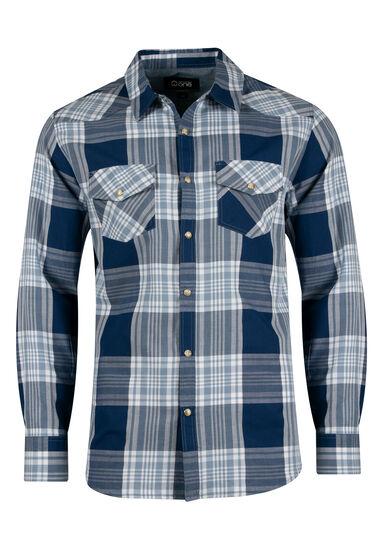 Men's Relaxed Plaid Shirt, NAVY, hi-res