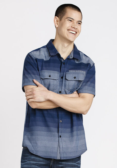 Men's Ombre Stripe Shirt, BLUE, hi-res