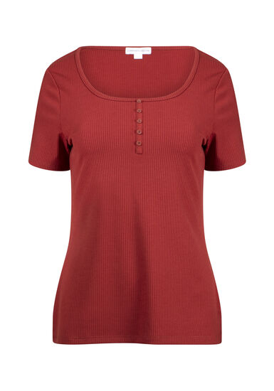 Women's Henley Rib Tee, BURNT ORANGE, hi-res