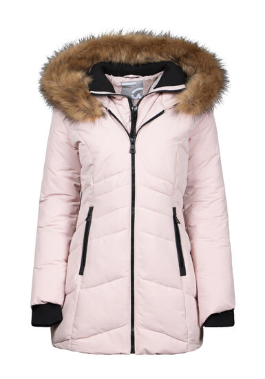 Women's Double Zip Quilted Parka, PINK, hi-res